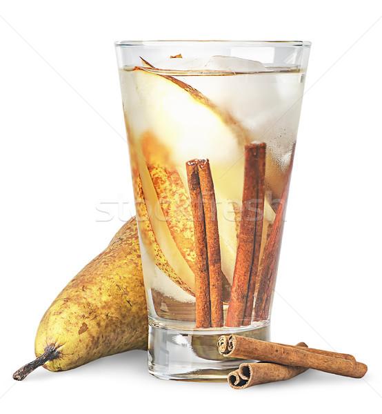 梨 肉桂 滿身是汗 玻璃 檸檬水 孤立 商業照片 © Cipariss