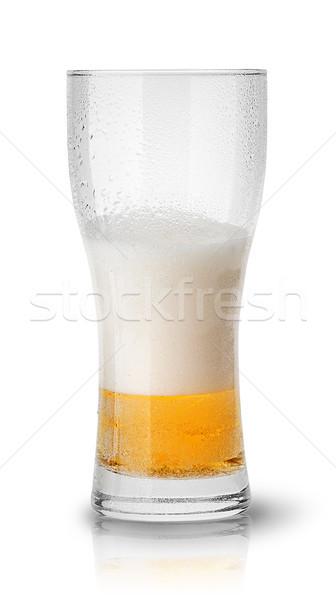 Bière sueur verre isolé blanche Photo stock © Cipariss