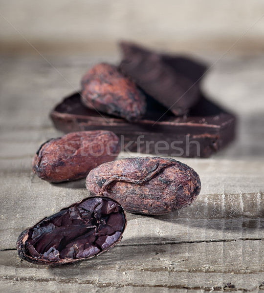 Parça koyu çikolata bulanık ahşap doğa Stok fotoğraf © Cipariss
