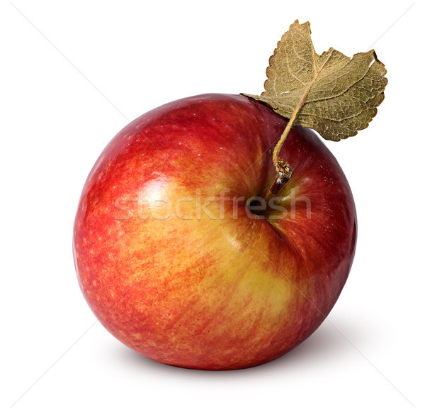 Red ripe apple with leaf top view Stock photo © Cipariss