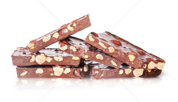 Pezzi cioccolato fondente isolato bianco sfondo candy Foto d'archivio © Cipariss