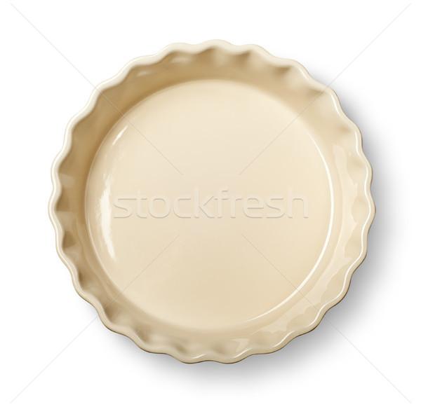 üst bej çanak yalıtılmış beyaz gıda Stok fotoğraf © Cipariss
