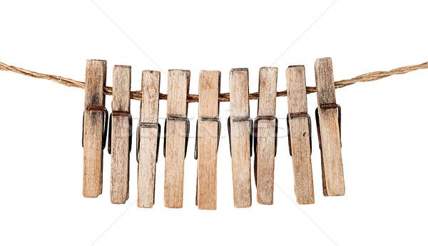 Sok öreg fából készült kötél izolált fehér Stock fotó © Cipariss