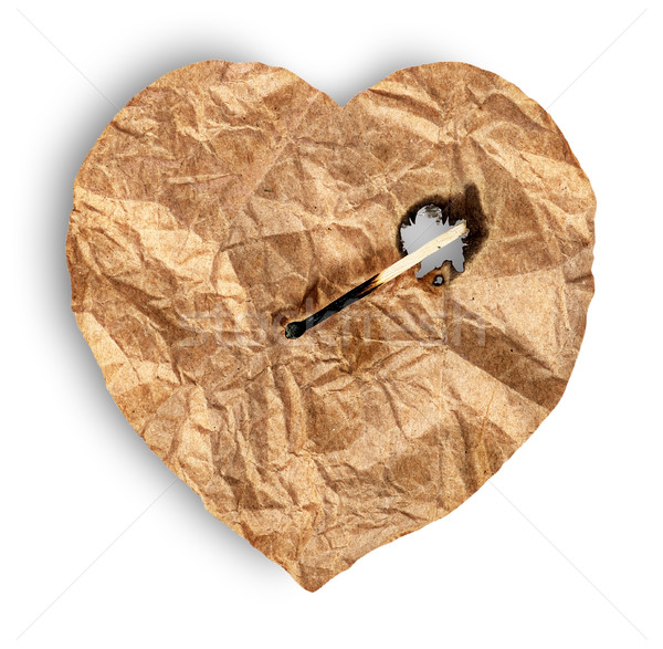 Crumpled paper heart burns match Stock photo © Cipariss