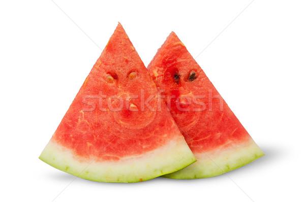 Kettő darabok görögdinnye izolált fehér étel Stock fotó © Cipariss
