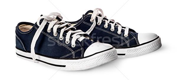 Bir çift karanlık mavi spor ayakkabı Stok fotoğraf © Cipariss