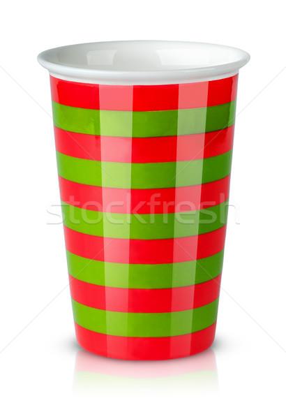Kırmızı yeşil çizgili fincan işlemek yalıtılmış Stok fotoğraf © Cipariss
