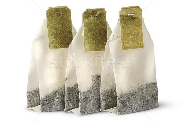 Három tea szatyrok címkék izolált fehér Stock fotó © Cipariss