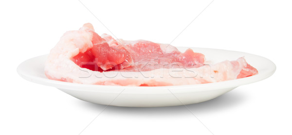 Raw Pork Schnitzel On A White Plate Rotated Stock photo © Cipariss
