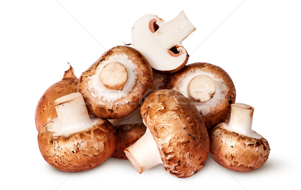Big pile of fresh brown champignon Stock photo © Cipariss