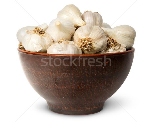 все голову чеснока керамической чаши Сток-фото © Cipariss