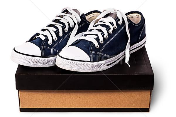 Sötét kék sportok cipők kartondoboz izolált Stock fotó © Cipariss