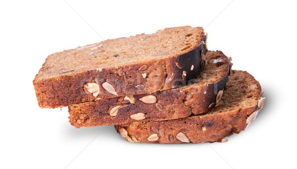 Három darabok kenyér magok egyéb izolált Stock fotó © Cipariss