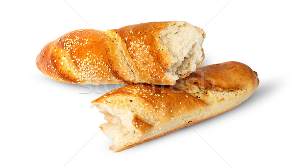 Two pieces of French baguette crosswise Stock photo © Cipariss
