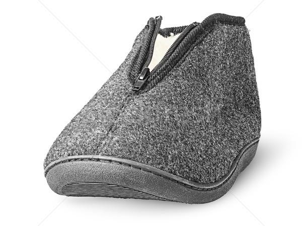 Comfortabel donkere grijs pantoffel Stockfoto © Cipariss