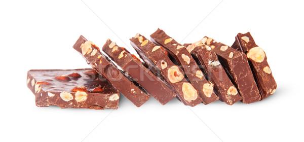 Pezzi cioccolato fondente scale isolato bianco Foto d'archivio © Cipariss