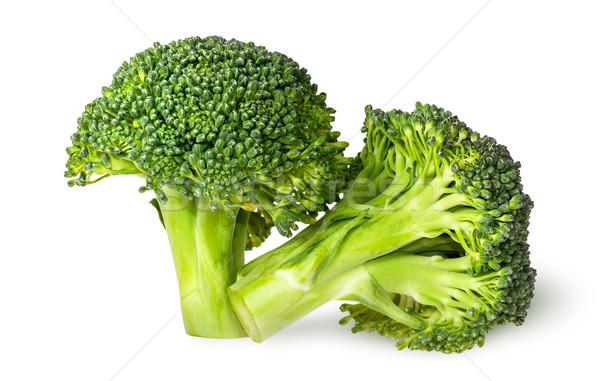Foto d'archivio: Primo · piano · due · succosa · broccoli · isolato · bianco