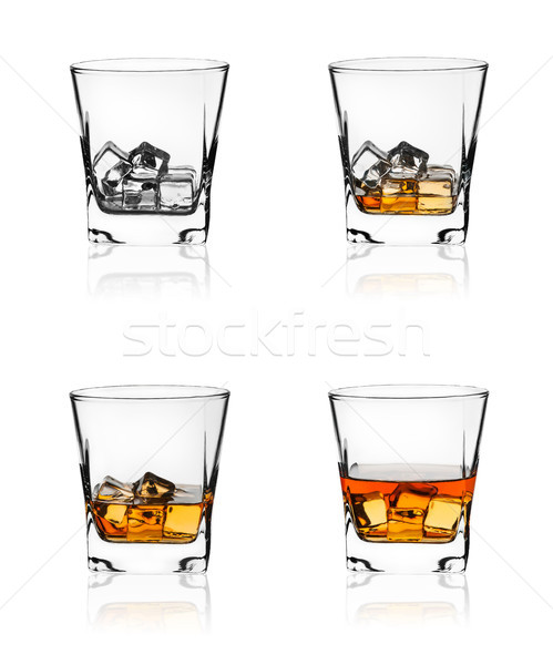 Glass of scotch whiskey and ice Stock photo © Cipariss