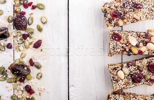 Stock fotó: Granola · bár · hozzávalók · egészséges · édes · desszert