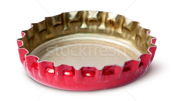 Közelkép piros üveg sapka izolált fehér Stock fotó © Cipariss