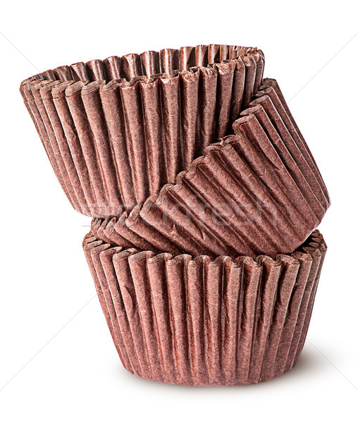 Heap of brown paper cups for baking muffins Stock photo © Cipariss