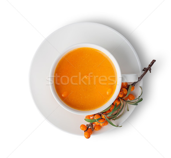 Juice from sea-buckthorn top view Stock photo © Cipariss