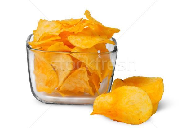 Foto stock: Batatas · fritas · vidro · tigela · isolado · branco · comida