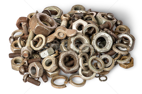 Pile of old fasteners top view Stock photo © Cipariss