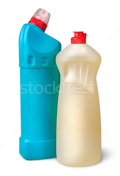 Foto d'archivio: Due · plastica · bottiglie · disinfettante · isolato · bianco