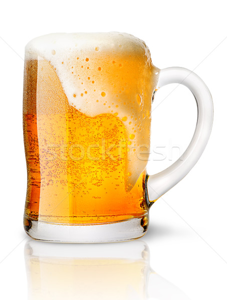 Frosty glass of light beer set Stock photo © Cipariss