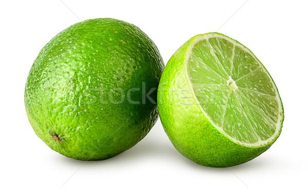 Stock fotó: Citrus · egész · fél · izolált · fehér · gyümölcs