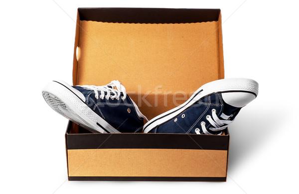 Dark blue sports shoes in cardboard box Stock photo © Cipariss