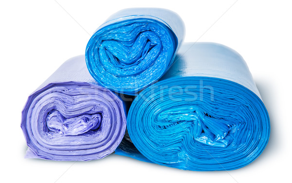 Three rolls of plastic garbage bags top and front view Stock photo © Cipariss