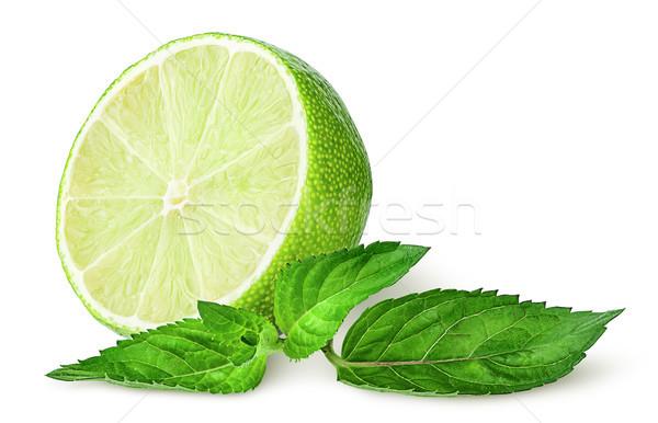 Fél citrus menta izolált fehér étel Stock fotó © Cipariss