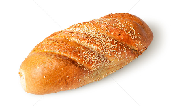 White long loaf with sesame seeds rotated Stock photo © Cipariss