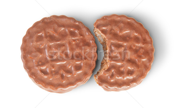 Whole And Bitten Off Chocolate Cookies Lying Next Stock photo © Cipariss