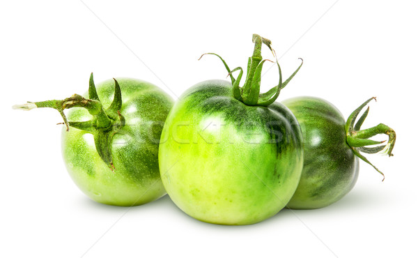 üç yeşil domates yalıtılmış beyaz Stok fotoğraf © Cipariss
