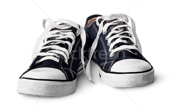 Pár kék sportos cipők elöl kilátás Stock fotó © Cipariss