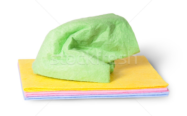 Multicolored cleaning cloths crumpled on top Stock photo © Cipariss
