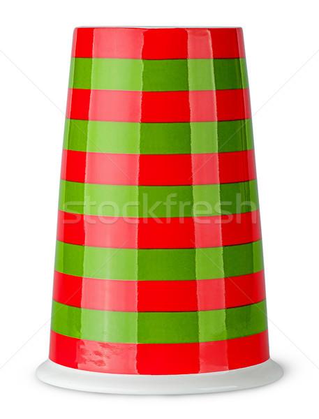 Czerwony zielone pasiasty kubek uchwyt odizolowany Zdjęcia stock © Cipariss