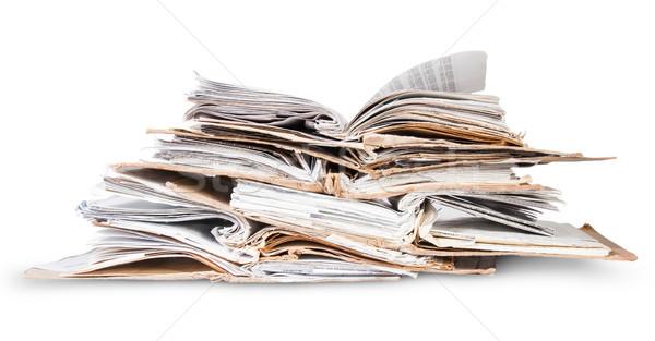 ストックフォト: スタック · オープン · 古い · ファイル · 孤立した · 白