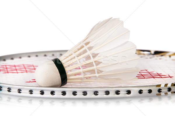 Badminton odizolowany biały Pióro szkolenia Zdjęcia stock © Cipariss