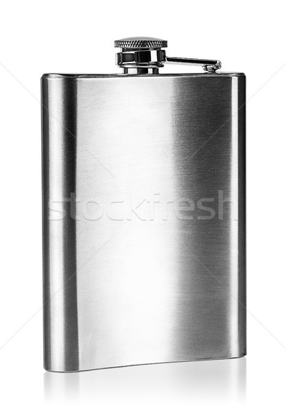 Stainless steel hip flask rear view Stock photo © Cipariss