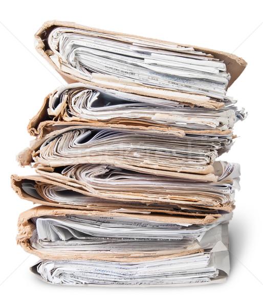Alten Dateien chaotischen isoliert weiß Stock foto © Cipariss