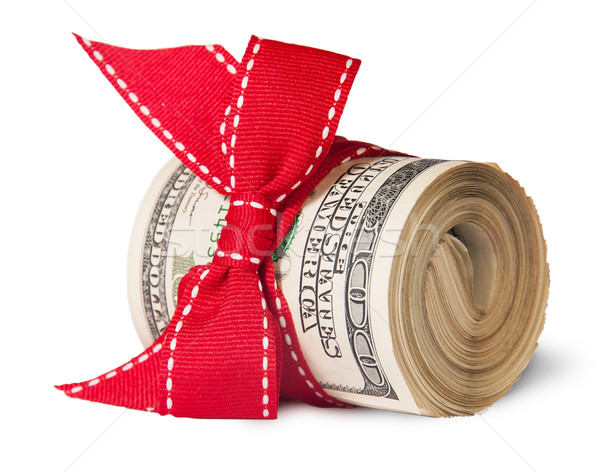 Stock photo: Roll Of One Hundred Dollar Bills Tied With Red Ribbon