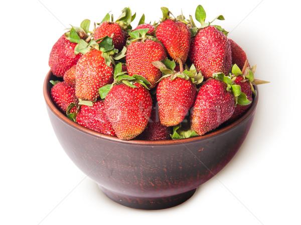 Juteuse fraises céramique bol haut Photo stock © Cipariss