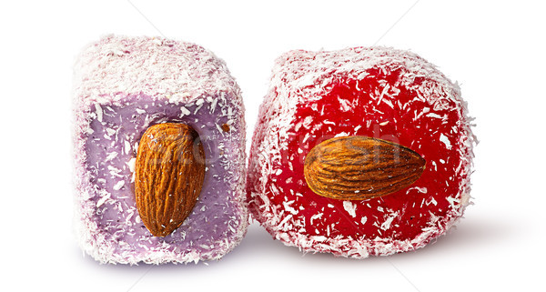 Two pieces of Turkish Delight with almonds beside Stock photo © Cipariss