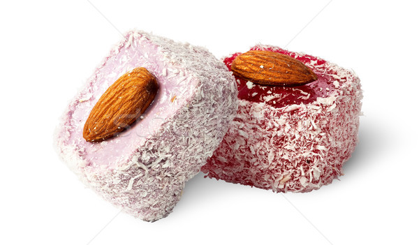 Two pieces of Turkish Delight with almonds Stock photo © Cipariss