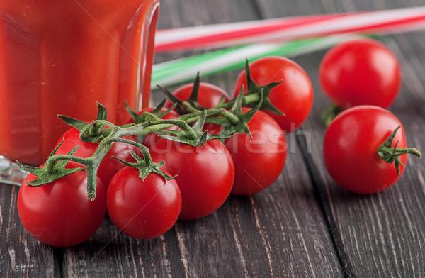Stok fotoğraf: Kiraz · domates · cam · domates · domates · suyu · kokteyl · bulanık