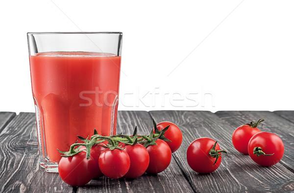 Kiraz domates domates suyu karanlık ahşap masa yalıtılmış beyaz Stok fotoğraf © Cipariss